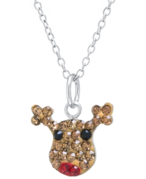"""Pave Crystal Reindeer Pendant with 18"""" Chain set in Sterling Silver"""