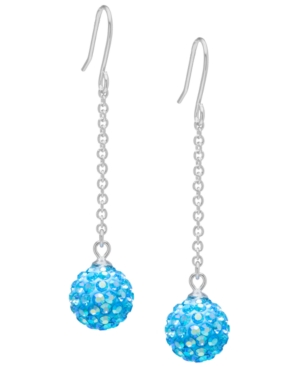 Pave Crystal 10mm Ball Drop Wire Earrings Set in Sterling Silver. Available in Clear or Aqua