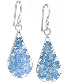 Medium Teardrop Dried Flower Earrings in Sterling Silver. Available in Multi, Blue, Yellow or Purple