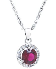 """Swarovski Crystal Round Halo Pendant With 18"""" Chain in Sterling Silver. Available in Clear, Black, Blue, Light Blue or Red"""