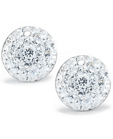 Crystal Pave Stud Earrings in Sterling Silver. Available in Clear, Blue, Gray, Red or Multi