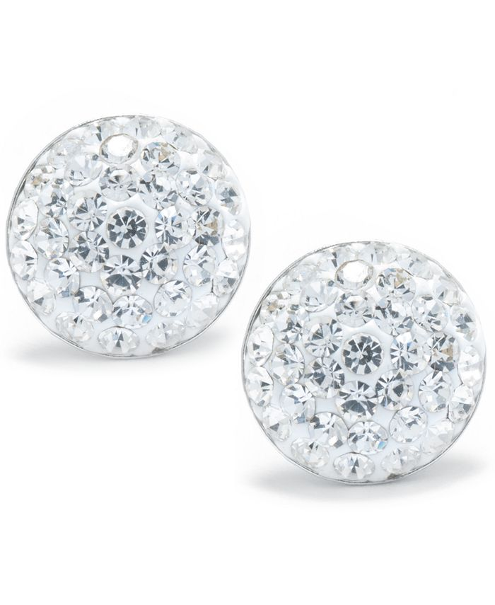 Giani Bernini - Crystal Pave Stud Earrings in Sterling Silver. Available in Clear, Blue, Gray, Red or Multi
