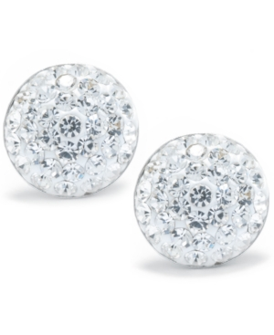 Crystal Pave Stud Earrings in Sterling Silver. Available in Clear