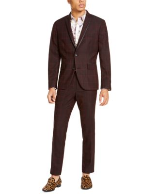 INC Men's Slim-Fit Windowpane Pants, Created For Macy's
