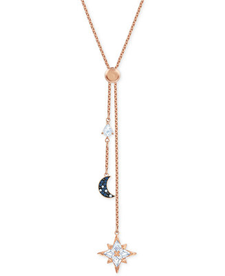 "Rose Gold Tone Multi Crystal Celestial Lariat Necklace, 16 1/2"" + 2"" Extender by General"