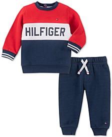 Baby Boys 2-Pc. Colorblocked Fleece Sweatshirt & Jogger Pants Set