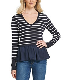 Striped Peplum-Hem Sweater