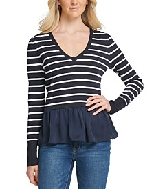 DKNY Striped Peplum-Hem Sweater