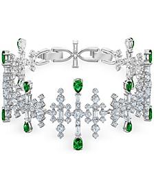 Silver-Tone Crystal & Stone Flex Bracelet