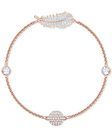 Remix Rose Gold-Tone Crystal Feather Magnetic Bracelet