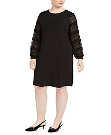 Plus Size Embellished-Sleeve Shift Dress, Created for Macy's