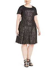 Plus Size Metallic Rose-Printed Dress