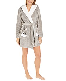 Women's Faux-Fur-Trim Cat Short Robe, Created For Macy's