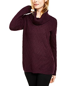 Chevron-Stitch Cowlneck Sweater