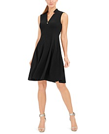 Petite Star-Neck A-Line Dress