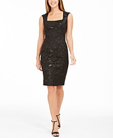 Square-Neck Sequin Scuba Dress