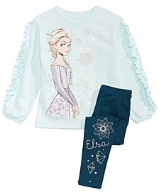 Little Girls 2-Pc. Frozen Elsa Top & Leggings Set