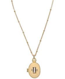"Gold-Tone Crystal Oval Locket Pendant Necklace, 18"" + 2"" extender"
