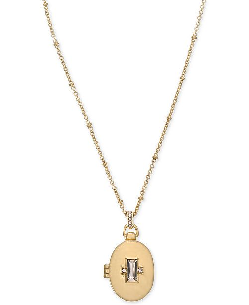 """Laundry by Shelli Segal Gold-Tone Crystal Oval Locket Pendant Necklace, 18"""" + 2"""" extender"""