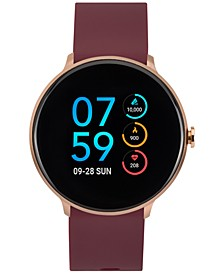 Sport Burgundy Silicone Strap Touchscreen Smart Watch 43.2mm
