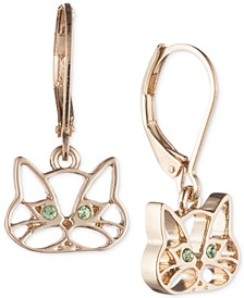 Gold-Tone Green Crystal Cat Drop Earrings