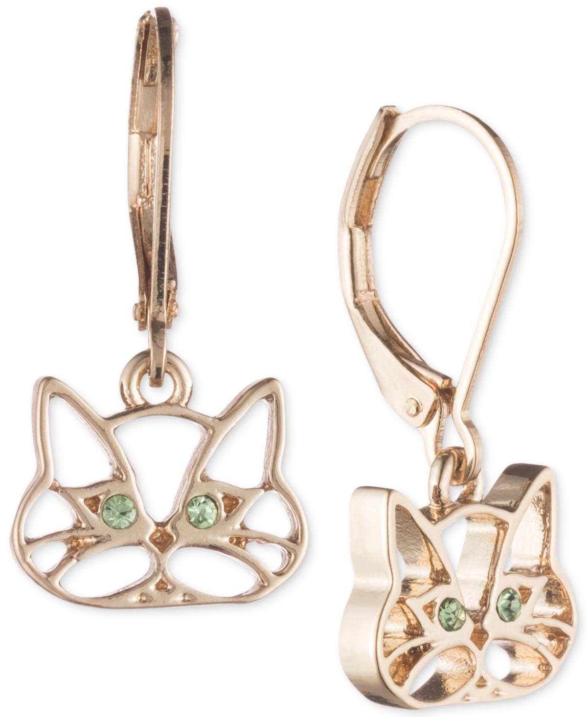 Pet Friends Jewelry Gold-Tone Green Crystal Cat Drop Earrings