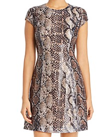 Elissa Sequin Python-Print Dress