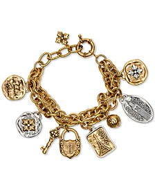 Two-Tone Travel-Theme Double-Chain Charm Bracelet