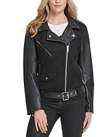 Belted Mixed-Media Moto Jacket