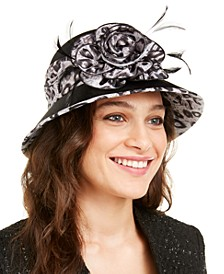 Satin Cloche with Animal Print Trim