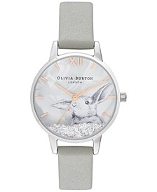 Women's Snow Globe Gray Leather Strap Watch 30mm