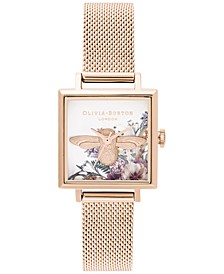 Women's Enchanted Garden Rose Gold-Tone Stainless Steel Mesh Bracelet Watch 22.5mm