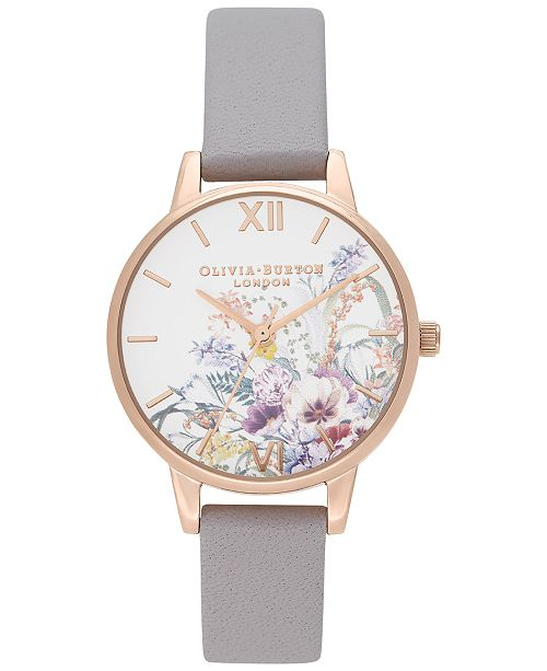 Olivia Burton Women's Enchanted Garden Gray Lilac Leather Strap Watch 30mm