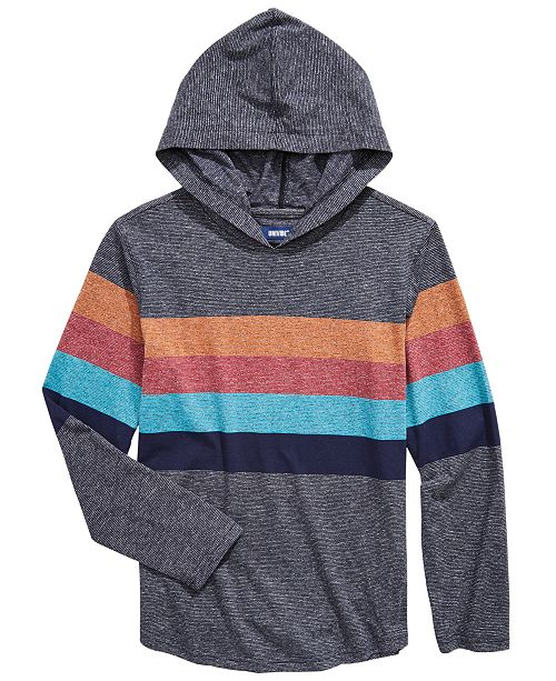 Univibe Big Boys Lukas Colorblocked Stripe Hooded T-Shirt
