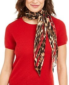 INC Bold Leopard Party Pleated Square Scarf, Created for Macy's