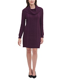 Cowlneck Solid Sweater Dress
