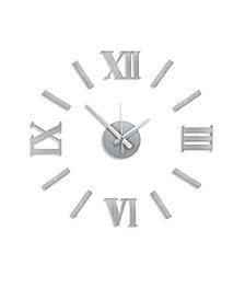 Brushed Stainless Steel Roman Number Clock