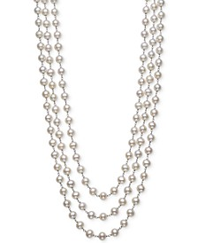 "Cultured Freshwater Pearl (7mm) Triple Strand 18"" Statement Necklace in Sterling Silver"