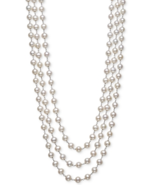 """Cultured Freshwater Pearl (7mm) Triple Strand 18"""" Statement Necklace in Sterling Silver"""