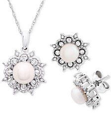 "Cultured Freshwater Pearl (5-6mm) & Diamond Accent 18"" Pendant Necklace and Stud Earrings Set in Sterling Silver"