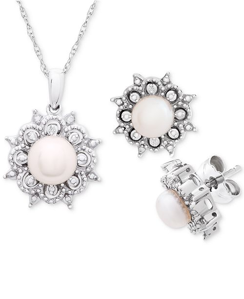 """Macy's Cultured Freshwater Pearl (5-6mm) & Diamond Accent 18"""" Pendant Necklace and Stud Earrings Set in Sterling Silver"""