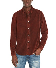 Men's Snap-Front Corduroy Denim Shirt