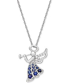 "Lab-Created Blue (3/8 ct. t.w.) & White Sapphire (1/10 ct. t.w.) Angel 18"" Pendant Necklace in Sterling Silver"