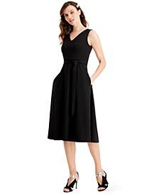 Petite Embellished Belted Dress