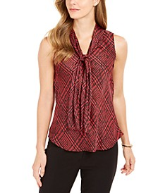 Plaid Tie-Neck Top