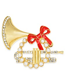 Gold-Tone Pavé & Imitation Pearl French Horn Box Pin, Created for Macy's