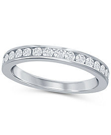 Round Diamond (1/3 ct. t.w.) Channel Band in 18K White Gold