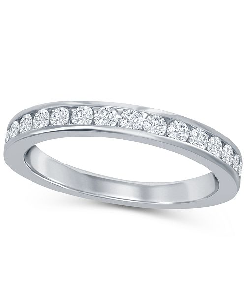 Macy's Round Diamond (1/3 ct. t.w.) Channel Band in 18K White Gold