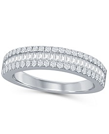 Round and Baguette Diamond  (1/2 ct. t.w.) Band in 14K White Gold
