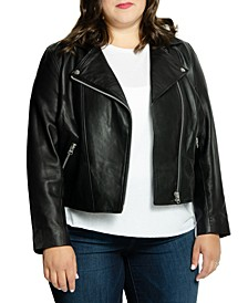 Plus Size Mid-Crop Leather Moto Jacket